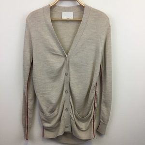 3.1 Phillip Lim Taupe Cardigan Red Pipping - M